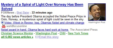 Headline: Mystery of a Spiral Light Over Norway Solved, next to a picture of Will Smith